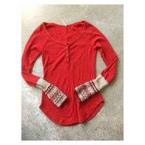 Free People • Newbie cuff thermal Henley top